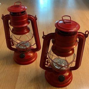 Classic LED lanterns - set of 2, red